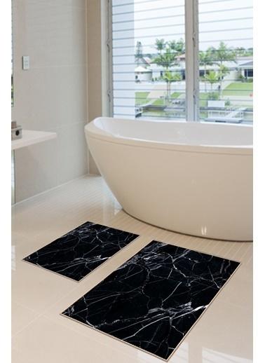 Arma House 2'li Dijital Baskılı Kaymaz Tabanlı Siyah Mermer Desenli Banyo Paspası Siyah